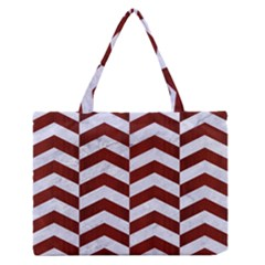 Chevron2 White Marble & Red Wood Zipper Medium Tote Bag by trendistuff