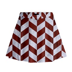 Chevron1 White Marble & Red Wood Mini Flare Skirt