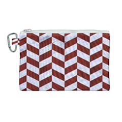 Chevron1 White Marble & Red Wood Canvas Cosmetic Bag (large) by trendistuff
