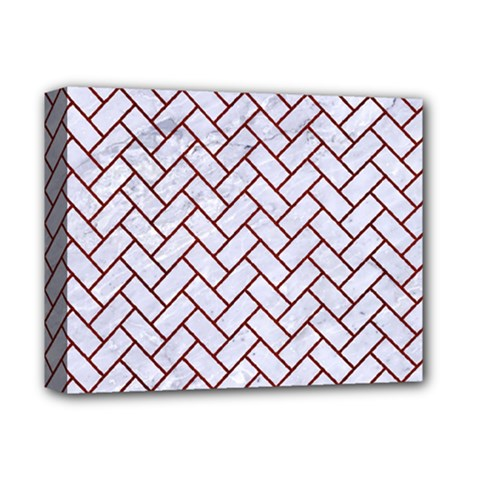 Brick2 White Marble & Red Wood (r) Deluxe Canvas 14  X 11  by trendistuff