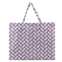 Brick2 White Marble & Red Wood (r) Zipper Large Tote Bag by trendistuff
