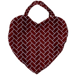 Brick2 White Marble & Red Wood Giant Heart Shaped Tote by trendistuff