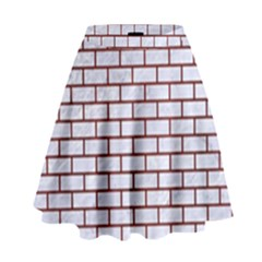Brick1 White Marble & Red Wood (r) High Waist Skirt