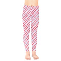 Woven2 White Marble & Red Watercolor (r) Kids  Legging