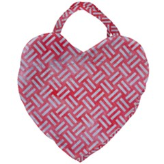 Woven2 White Marble & Red Watercolor Giant Heart Shaped Tote by trendistuff