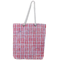 Woven1 White Marble & Red Watercolor (r) Full Print Rope Handle Tote (large) by trendistuff