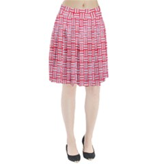 Woven1 White Marble & Red Watercolor Pleated Skirt by trendistuff