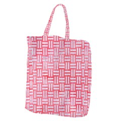 Woven1 White Marble & Red Watercolor Giant Grocery Zipper Tote by trendistuff