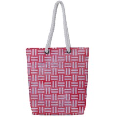 Woven1 White Marble & Red Watercolor Full Print Rope Handle Tote (small) by trendistuff