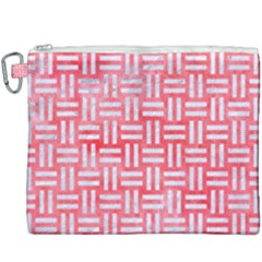 Woven1 White Marble & Red Watercolor Canvas Cosmetic Bag (xxxl) by trendistuff