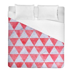 Triangle3 White Marble & Red Watercolor Duvet Cover (full/ Double Size) by trendistuff