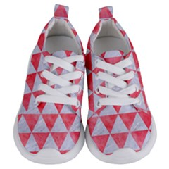 Triangle3 White Marble & Red Watercolor Kids  Lightweight Sports Shoes