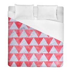 Triangle2 White Marble & Red Watercolor Duvet Cover (full/ Double Size) by trendistuff