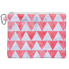 Triangle2 White Marble & Red Watercolor Canvas Cosmetic Bag (xxl)