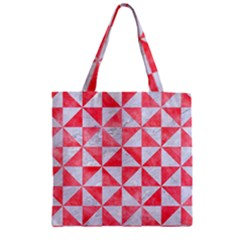 Triangle1 White Marble & Red Watercolor Zipper Grocery Tote Bag by trendistuff
