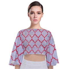 Tile1 White Marble & Red Watercolor (r) Tie Back Butterfly Sleeve Chiffon Top