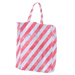 Stripes3 White Marble & Red Watercolor (r) Giant Grocery Zipper Tote by trendistuff
