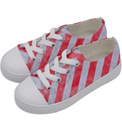 Stripes3 White Marble & Red Watercolor (r) Kids  Low Top Canvas Sneakers by trendistuff