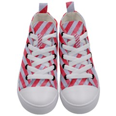 Stripes3 White Marble & Red Watercolor (r) Kid s Mid Top Canvas Sneakers