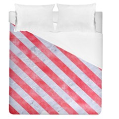 Stripes3 White Marble & Red Watercolor Duvet Cover (queen Size) by trendistuff