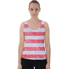 Stripes2white Marble & Red Watercolor Velvet Tank Top