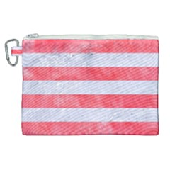 Stripes2white Marble & Red Watercolor Canvas Cosmetic Bag (xl) by trendistuff