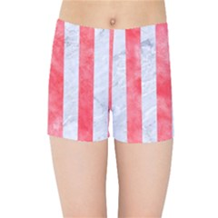 Stripes1 White Marble & Red Watercolor Kids Sports Shorts