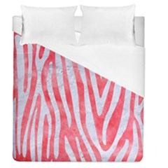 Skin4 White Marble & Red Watercolor (r) Duvet Cover (queen Size) by trendistuff