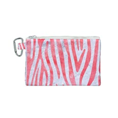 Skin4 White Marble & Red Watercolor Canvas Cosmetic Bag (small) by trendistuff