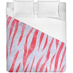 Skin3 White Marble & Red Watercolor (r) Duvet Cover (california King Size) by trendistuff