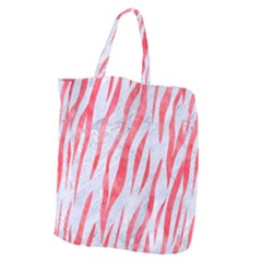 Skin3 White Marble & Red Watercolor (r) Giant Grocery Zipper Tote by trendistuff
