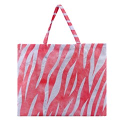 Skin3 White Marble & Red Watercolor Zipper Large Tote Bag by trendistuff
