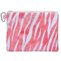 Skin3 White Marble & Red Watercolor Canvas Cosmetic Bag (xxl)
