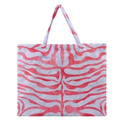 Skin2 White Marble & Red Watercolor (r) Zipper Large Tote Bag by trendistuff