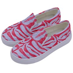 Skin2 White Marble & Red Watercolor (r) Kids  Canvas Slip Ons by trendistuff
