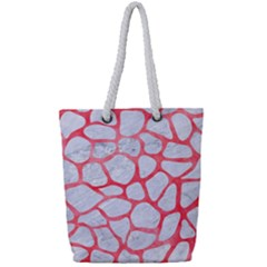 Skin1 White Marble & Red Watercolor Full Print Rope Handle Tote (small) by trendistuff