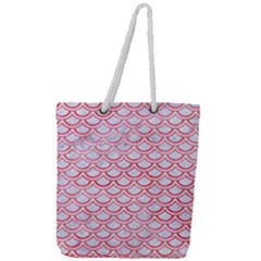 Scales2 White Marble & Red Watercolor (r) Full Print Rope Handle Tote (large) by trendistuff
