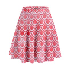 Scales2 White Marble & Red Watercolor High Waist Skirt