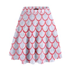 Scales1 White Marble & Red Watercolor (r) High Waist Skirt