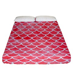 Scales1 White Marble & Red Watercolor Fitted Sheet (california King Size) by trendistuff