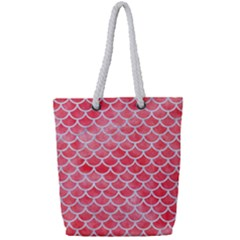 Scales1 White Marble & Red Watercolor Full Print Rope Handle Tote (small) by trendistuff