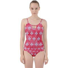 Royal1 White Marble & Red Watercolor (r) Cut Out Top Tankini Set by trendistuff