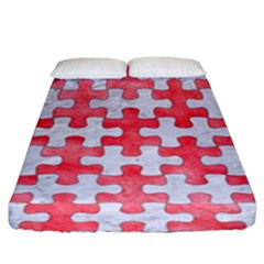 Puzzle1 White Marble & Red Watercolor Fitted Sheet (king Size) by trendistuff