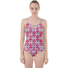 Puzzle1 White Marble & Red Watercolor Cut Out Top Tankini Set by trendistuff
