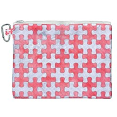 Puzzle1 White Marble & Red Watercolor Canvas Cosmetic Bag (xxl) by trendistuff