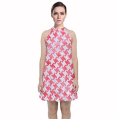 Houndstooth2 White Marble & Red Watercolor Velvet Halter Neckline Dress