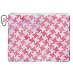 Houndstooth2 White Marble & Red Watercolor Canvas Cosmetic Bag (xxl) by trendistuff