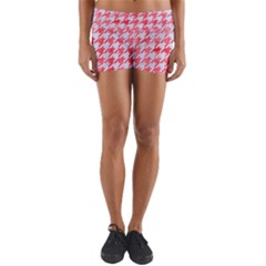 Houndstooth1 White Marble & Red Watercolor Yoga Shorts