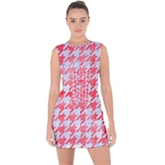 Houndstooth1 White Marble & Red Watercolor Lace Up Front Bodycon Dress