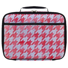 Houndstooth1 White Marble & Red Watercolor Full Print Lunch Bag by trendistuff